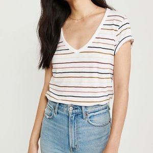 Abercrombie Soft AF tee shirt V-neck Stripe White